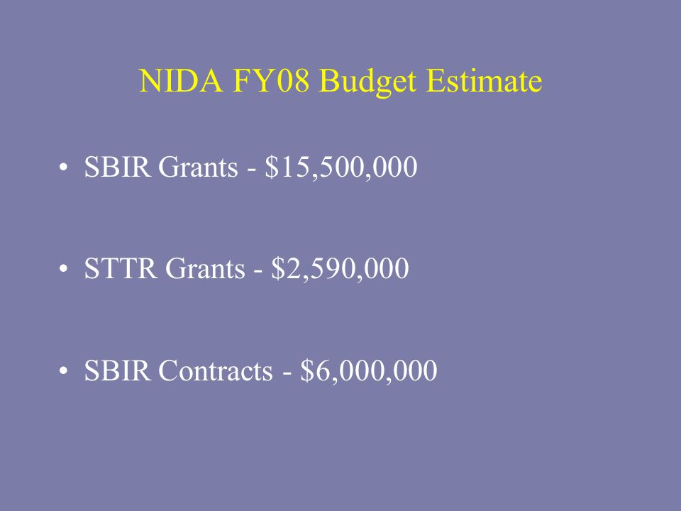 NIDA FY08 Budget Estimate SBIR Grants - $15,500,000 STTR Grants - $2,590,000 SBIR Contracts - $6,000,000