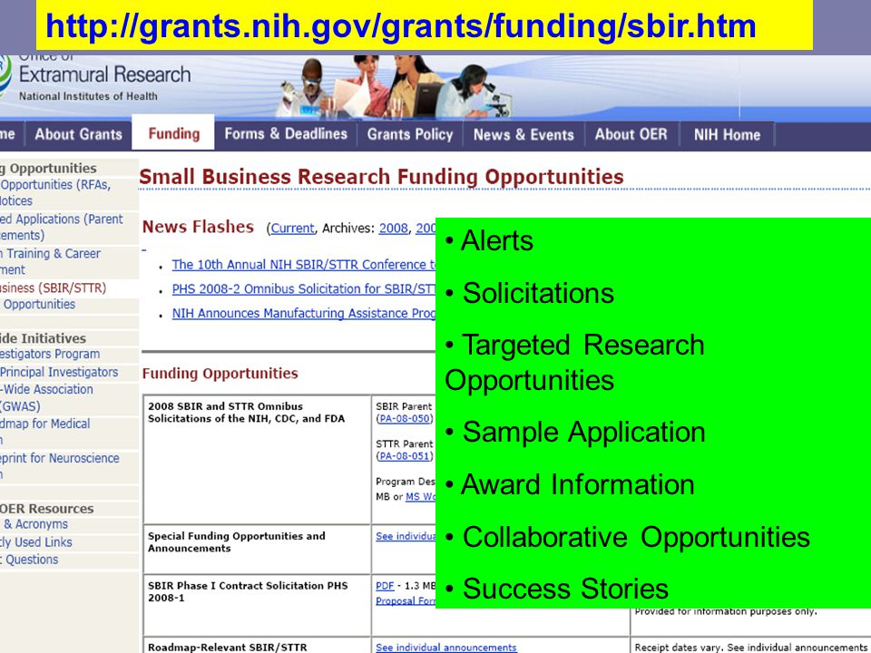 Alerts Solicitations Targeted Research Opportunities Sample Application Award Information Collaborative Opportunities Success Stories http://grants.nih.gov/grants/funding/sbir.htm