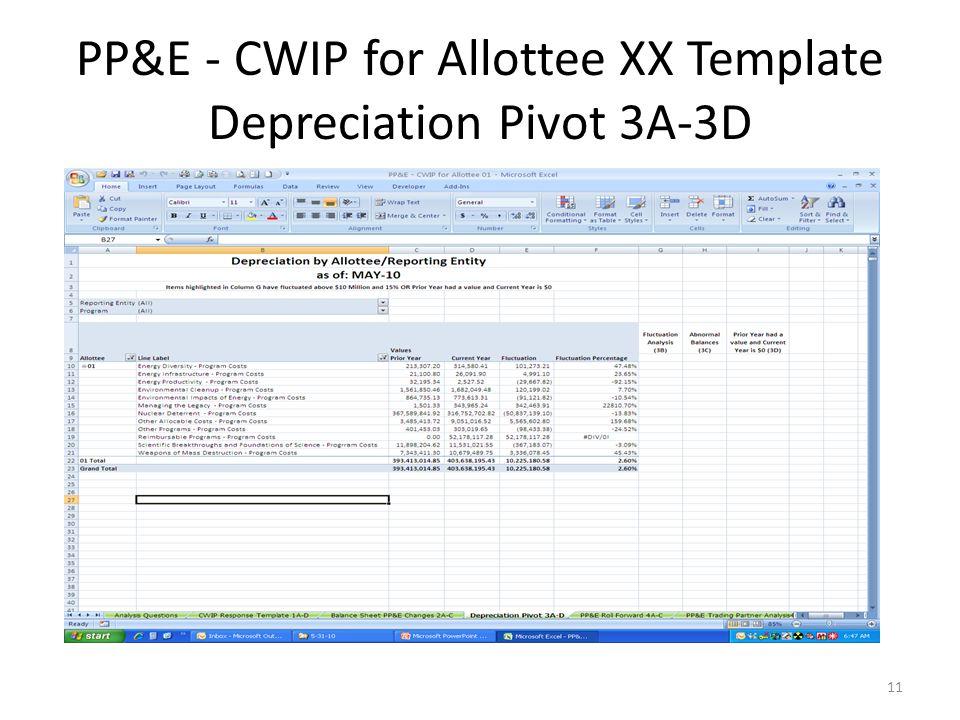 PP&E - CWIP for Allottee XX Template Depreciation Pivot 3A-3D 11