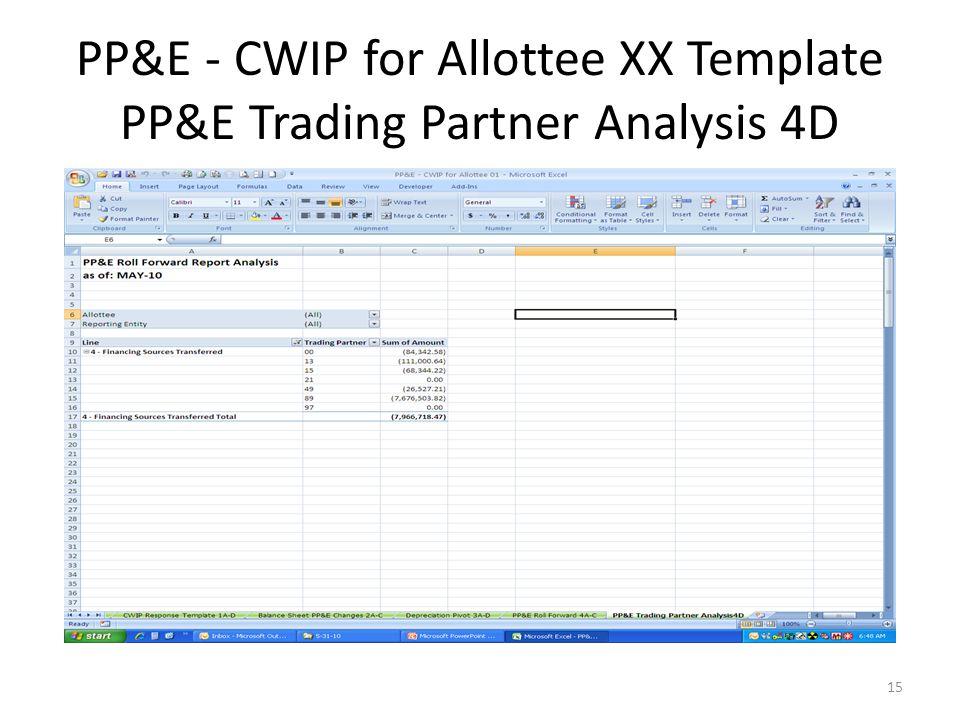 PP&E - CWIP for Allottee XX Template PP&E Trading Partner Analysis 4D 15