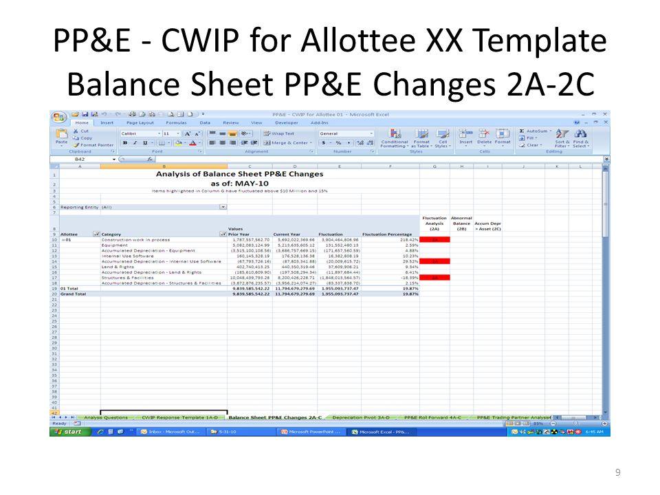 PP&E - CWIP for Allottee XX Template Balance Sheet PP&E Changes 2A-2C 9