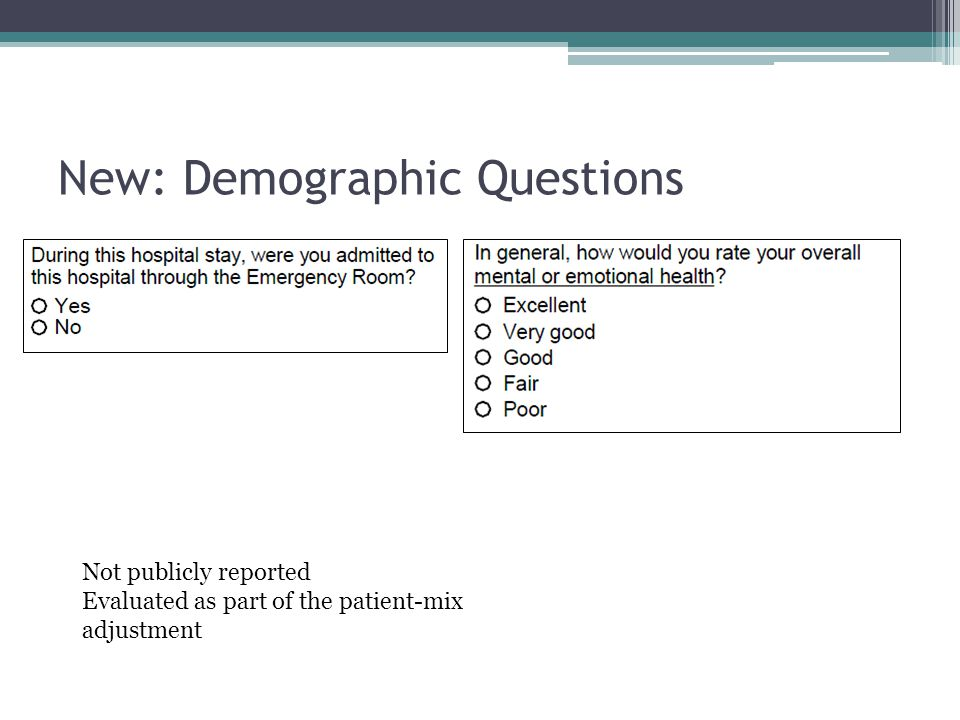 New: Demographic Questions Not publicly reported Evaluated as part of the patient-mix adjustment