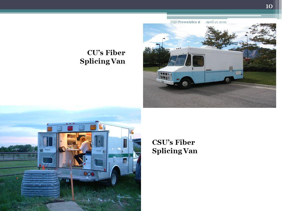 April 13, 2005NGN Presentation at CHECO 10 CU's Fiber Splicing Van CSU's Fiber Splicing Van