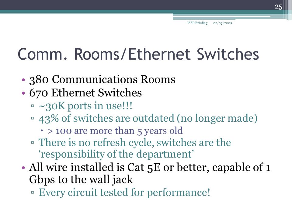Comm. Rooms/Ethernet Switches 380 Communications Rooms 670 Ethernet Switches ▫~30K ports in use!!.