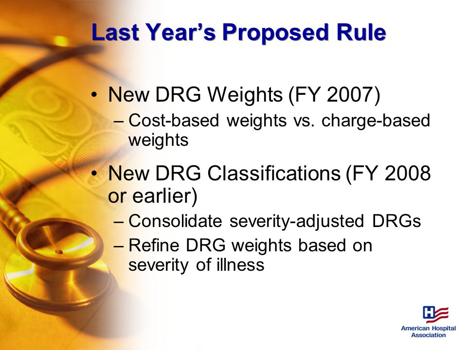 Last Year's Proposed Rule New DRG Weights (FY 2007) –Cost-based weights vs.