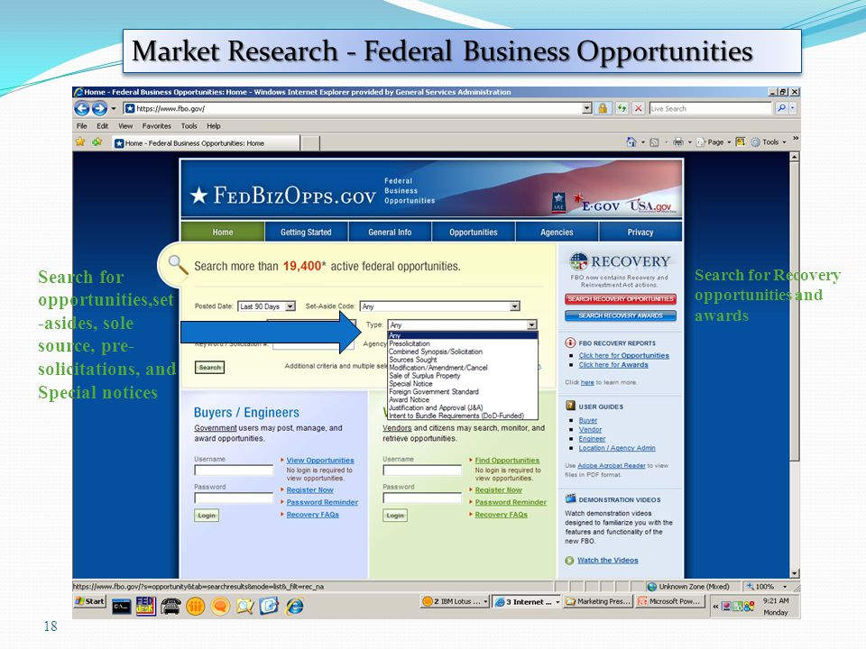 18 Market Research - Federal Business Opportunities Search for opportunities,set -asides, sole source, pre- solicitations, and Special notices Search