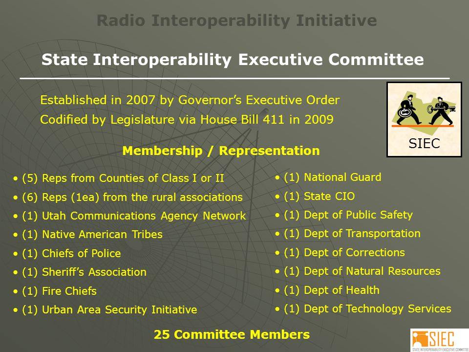 SIEC Radio Interoperability Initiative State Interoperability Executive Committee Disciplines /Interests Represented Local Government FireMedical Tribal Military Correctional Education Transportation Rural Government Law Enforcement First Responders