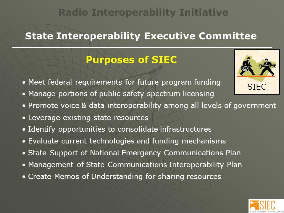 Request Radio Interoperability Initiative Large City Rural Town County Interoperability Grant SIEC