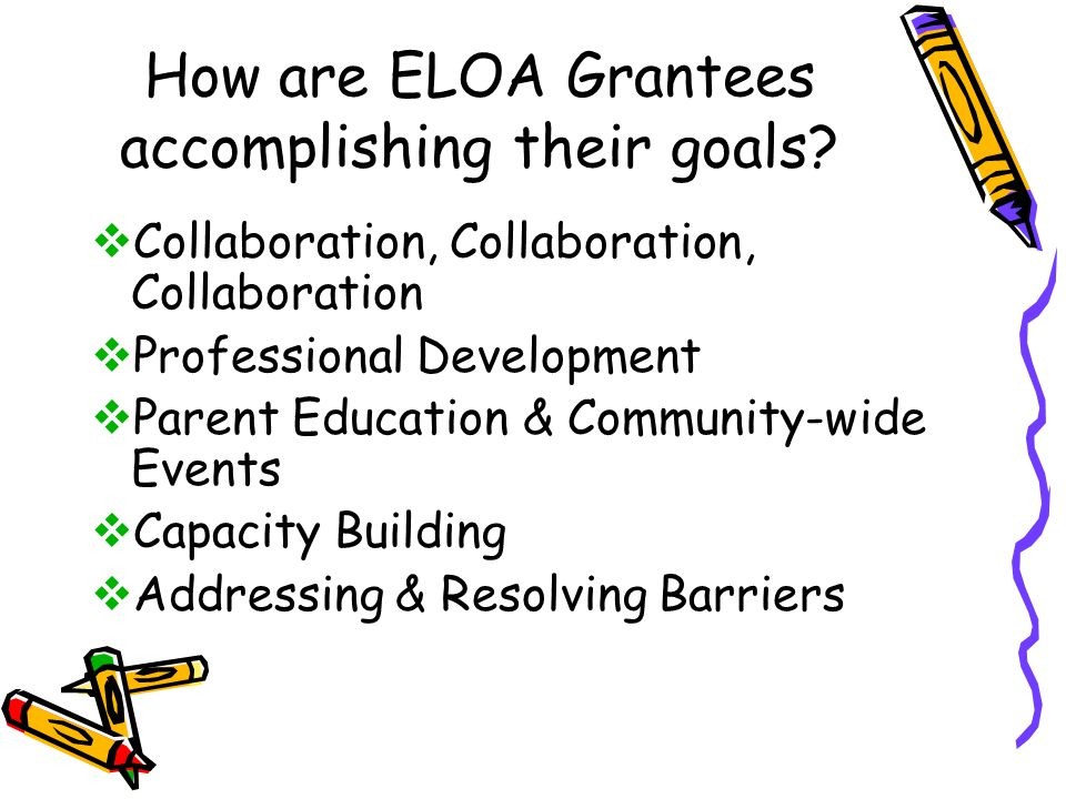 How are ELOA Grantees accomplishing their goals.