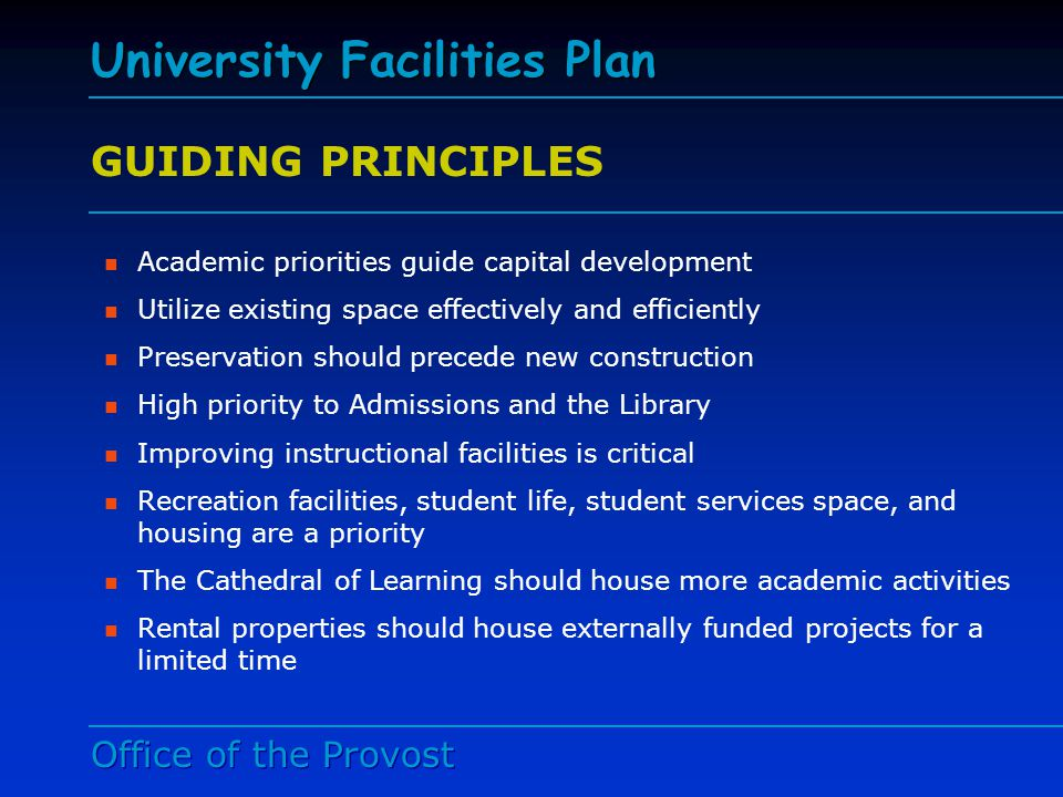 Office of the Provost University Facilities Plan FINANCIAL IMPLICATIONS – 1996 TOTAL UNIVERSITY Short-TermFY 98 – FY 01$267,621,000 Mid-TermFY 02 – FY 04154,725,250 Long-TermFY 05 – FY 0793,514,000 TOTAL$515,860,250 Estimated increase in E&G debt service$16,210,562 Estimated increase in E&G operating costs$ 5,673,600