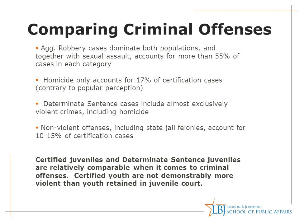 Comparing Criminal Offenses  Agg. Robbery cases dominate both populations, and together with sexual assault, accounts for more than 55% of cases in e