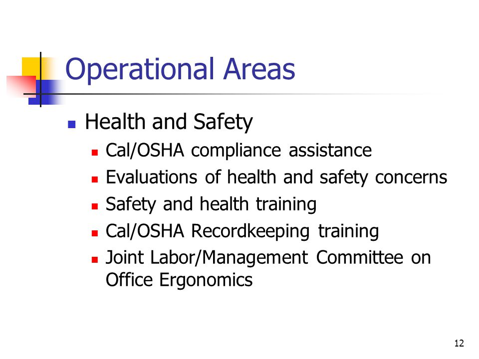 12 Operational Areas Health and Safety Cal/OSHA compliance assistance Evaluations of health and safety concerns Safety and health training Cal/OSHA Recordkeeping training Joint Labor/Management Committee on Office Ergonomics