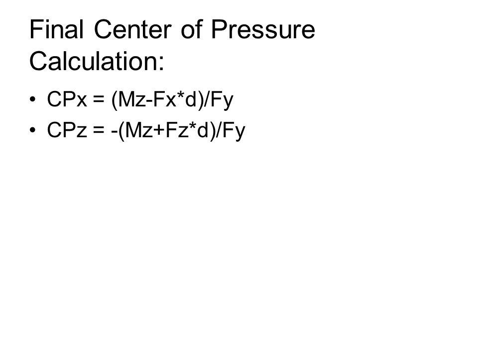 Final Center of Pressure Calculation: CPx = (Mz-Fx*d)/Fy CPz = -(Mz+Fz*d)/Fy