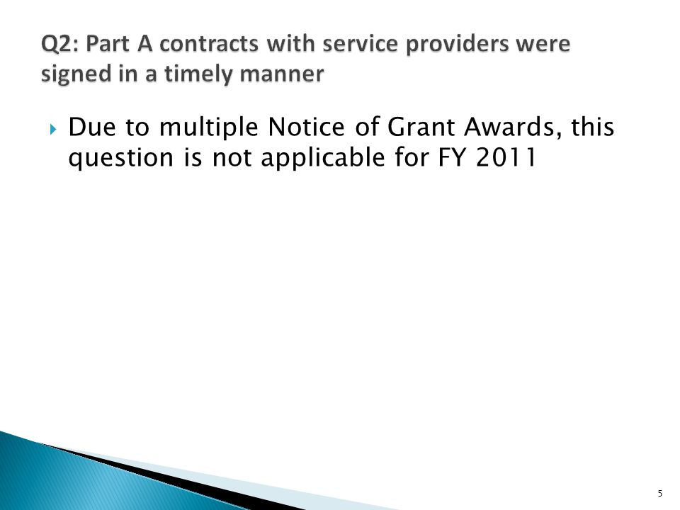 Due to multiple Notice of Grant Awards, this question is not applicable for FY 2011 5