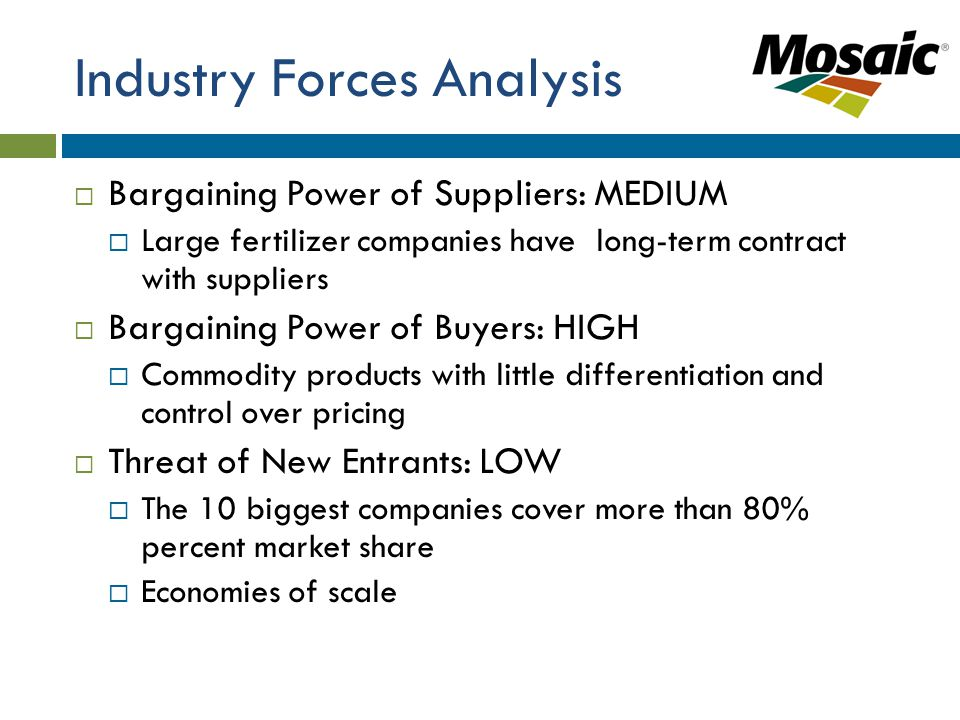 Industry Forces Analysis  Bargaining Power of Suppliers: MEDIUM  Large fertilizer companies have long-term contract with suppliers  Bargaining Power of Buyers: HIGH  Commodity products with little differentiation and control over pricing  Threat of New Entrants: LOW  The 10 biggest companies cover more than 80% percent market share  Economies of scale