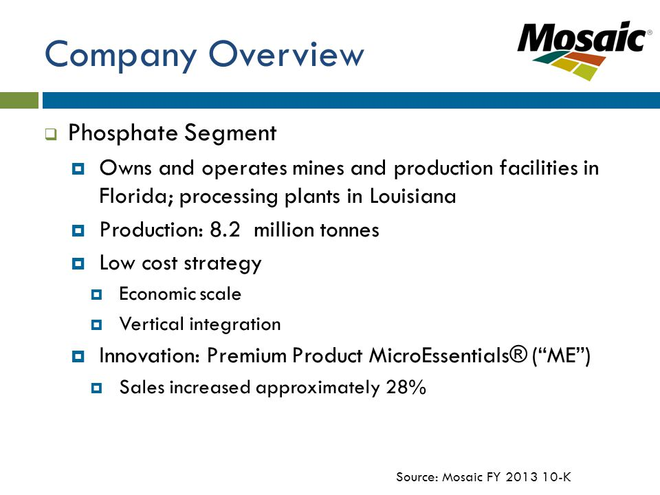 Company Overview  Phosphate Segment  Owns and operates mines and production facilities in Florida; processing plants in Louisiana  Production: 8.2 million tonnes  Low cost strategy  Economic scale  Vertical integration  Innovation: Premium Product MicroEssentials® ( ME )  Sales increased approximately 28% Source: Mosaic FY 2013 10-K
