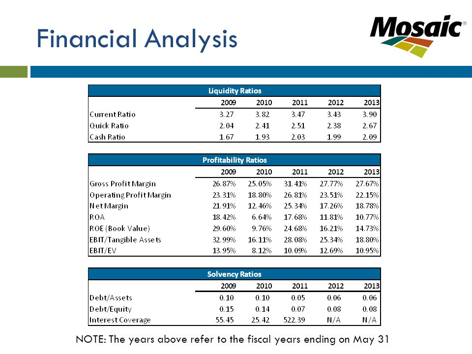 Financial Analysis NOTE: The years above refer to the fiscal years ending on May 31