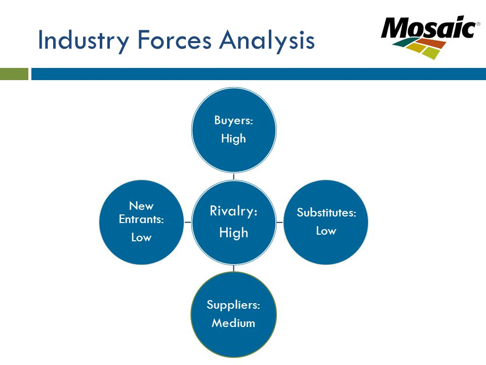 Industry Forces Analysis Rivalry: High Buyers: High Substitutes: Low Suppliers: Medium New Entrants: Low