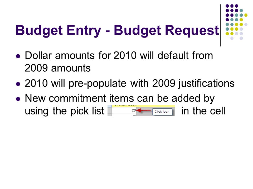Budget Entry - Budget Request Dollar amounts for 2010 will default from 2009 amounts 2010 will pre-populate with 2009 justifications New commitment items can be added by using the pick list in the cell