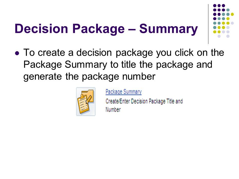 Decision Package – Summary To create a decision package you click on the Package Summary to title the package and generate the package number