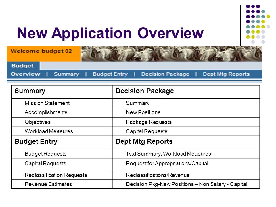 New Application Overview SummaryDecision Package Mission StatementSummary AccomplishmentsNew Positions ObjectivesPackage Requests Workload MeasuresCapital Requests Budget EntryDept Mtg Reports Budget RequestsText Summary, Workload Measures Capital RequestsRequest for Appropriations/Capital Reclassification RequestsReclassifications/Revenue Revenue EstimatesDecision Pkg-New Positions – Non Salary - Capital