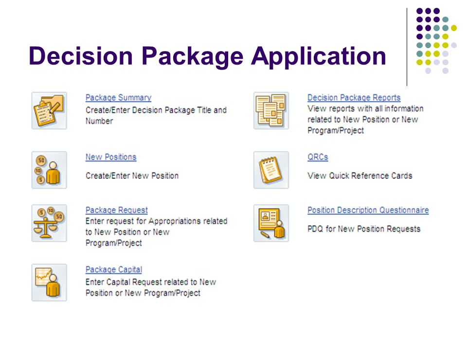 Decision Package Application