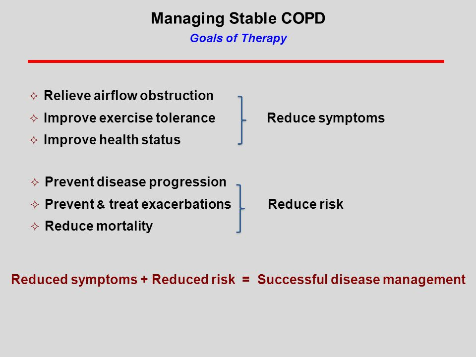 Managing Stable COPD Goals of Therapy  Relieve airflow obstruction  Improve exercise tolerance Reduce symptoms  Improve health status  Prevent disease progression  Prevent & treat exacerbations Reduce risk  Reduce mortality Reduced symptoms + Reduced risk = Successful disease management