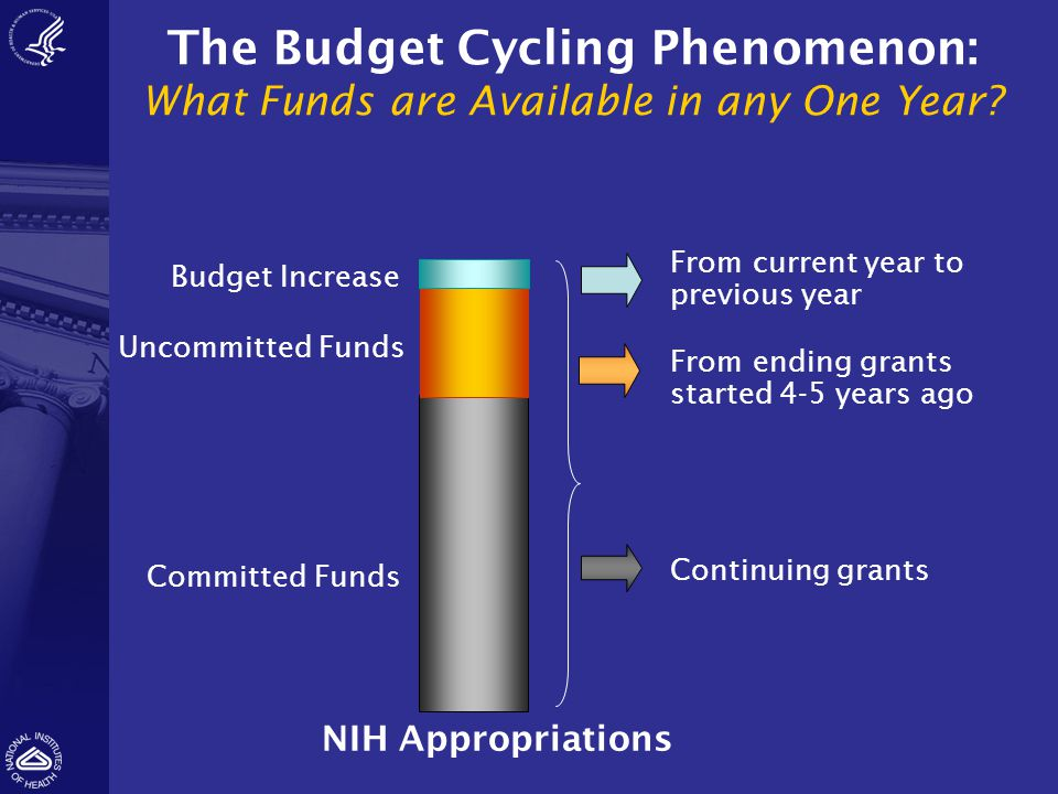 The Budget Cycling Phenomenon: What Funds are Available in any One Year? NIH Appropriations Committed Funds Uncommitted Funds Budget Increase From end