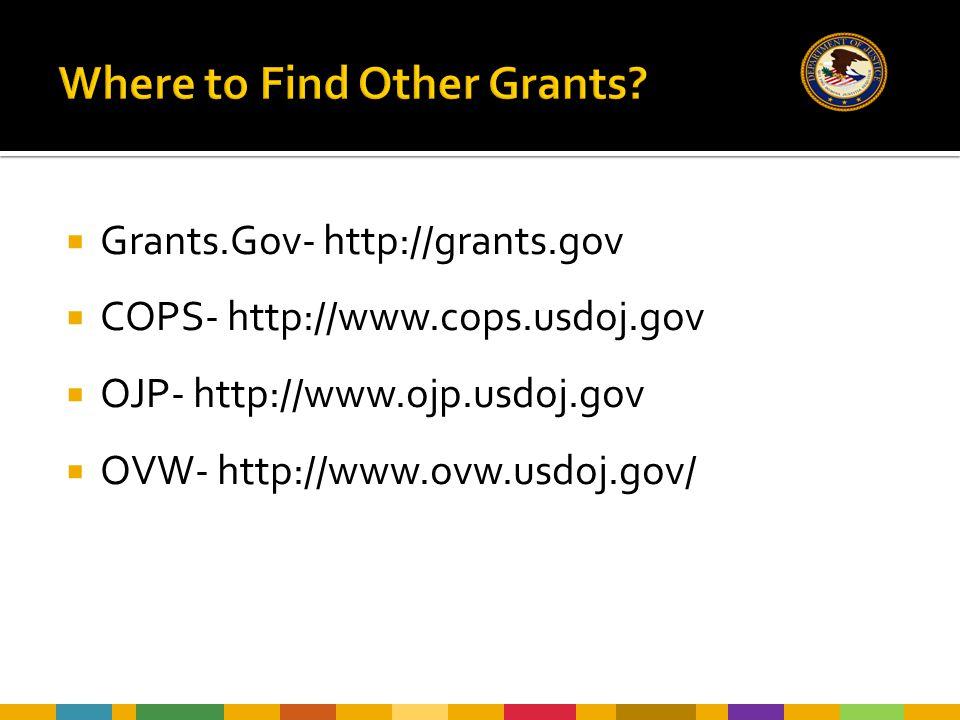  Grants.Gov- http://grants.gov  COPS- http://www.cops.usdoj.gov  OJP- http://www.ojp.usdoj.gov  OVW- http://www.ovw.usdoj.gov/