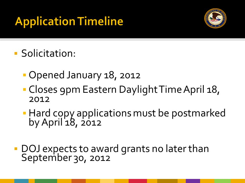  Solicitation:  Opened January 18, 2012  Closes 9pm Eastern Daylight Time April 18, 2012  Hard copy applications must be postmarked by April 18, 2