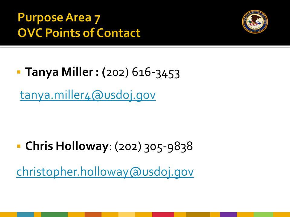  Tanya Miller : (202) 616-3453 tanya.miller4@usdoj.gov  Chris Holloway: (202) 305-9838 christopher.holloway@usdoj.gov