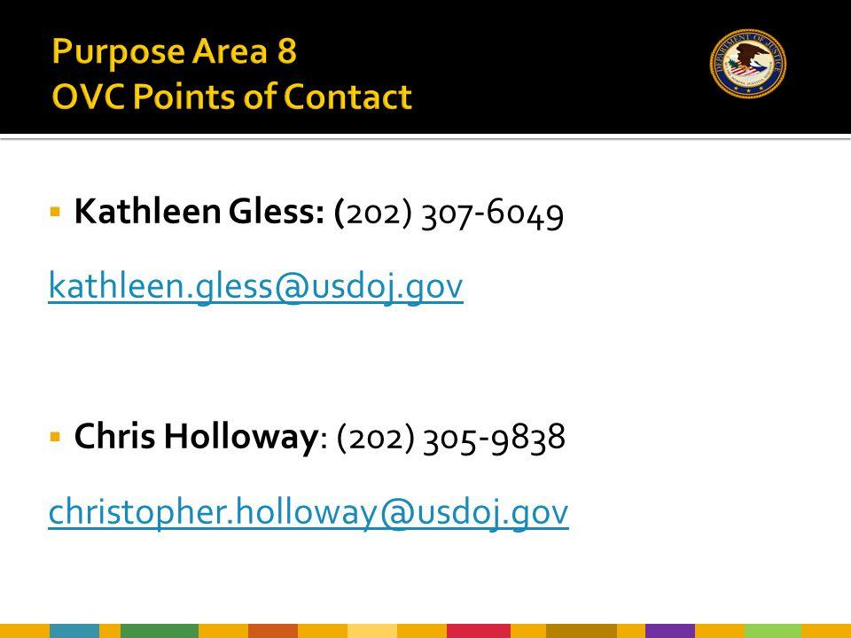  Kathleen Gless: (202) 307-6049 kathleen.gless@usdoj.gov  Chris Holloway: (202) 305-9838 christopher.holloway@usdoj.gov