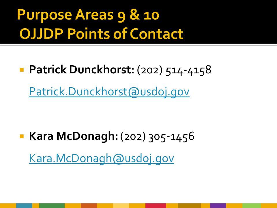  Patrick Dunckhorst: (202) 514-4158 Patrick.Dunckhorst@usdoj.gov Patrick.Dunckhorst@usdoj.gov  Kara McDonagh: (202) 305-1456 Kara.McDonagh@usdoj.gov