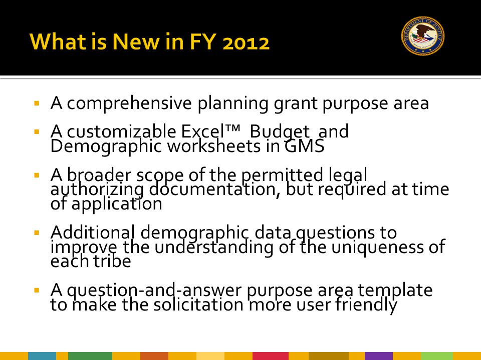  A comprehensive planning grant purpose area  A customizable Excel™ Budget and Demographic worksheets in GMS  A broader scope of the permitted lega
