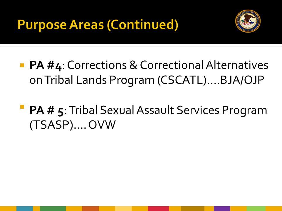  PA #4: Corrections & Correctional Alternatives on Tribal Lands Program (CSCATL)….BJA/OJP  PA # 5: Tribal Sexual Assault Services Program (TSASP)….