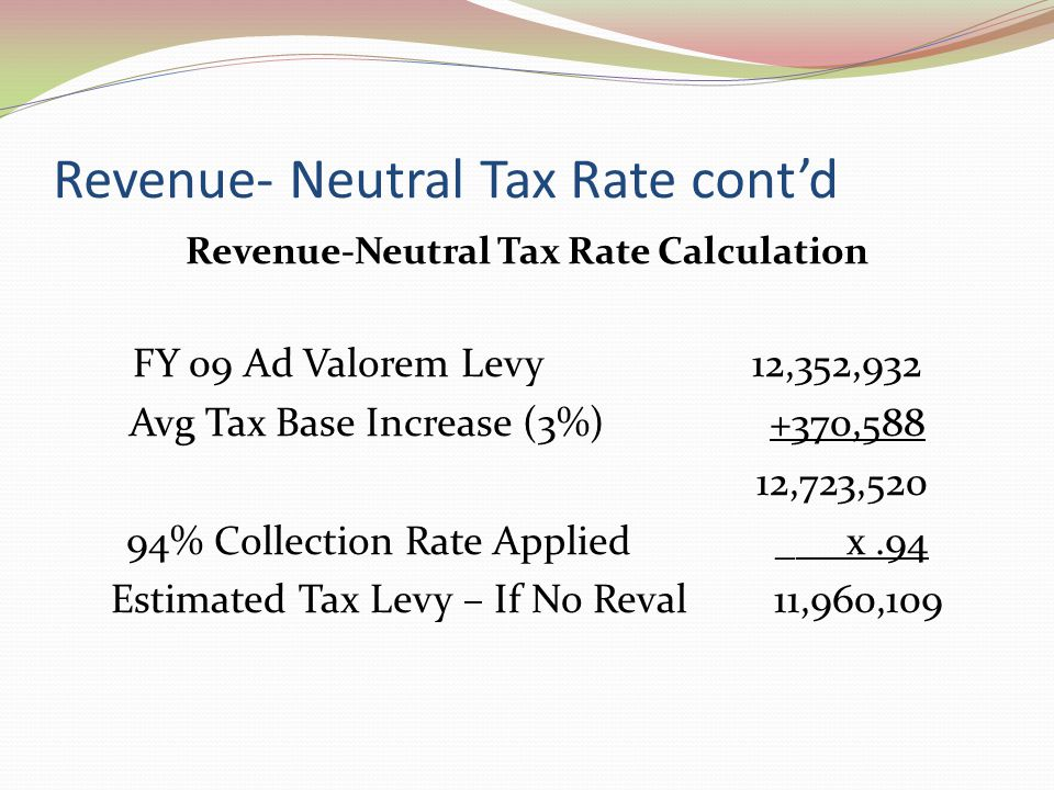 Revenue- Neutral Tax Rate cont'd Revenue-Neutral Tax Rate Calculation FY 09 Ad Valorem Levy 12,352,932 Avg Tax Base Increase (3%) +370,588 12,723,520 94% Collection Rate Applied _ x.94 Estimated Tax Levy – If No Reval 11,960,109
