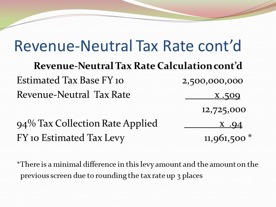 Revenue-Neutral Tax Rate cont'd Revenue-Neutral Tax Rate Calculation cont'd Estimated Tax Base FY 10 2,500,000,000 Revenue-Neutral Tax Rate x.509 12,725,000 94% Tax Collection Rate Applied x.94 FY 10 Estimated Tax Levy 11,961,500 * *There is a minimal difference in this levy amount and the amount on the previous screen due to rounding the tax rate up 3 places