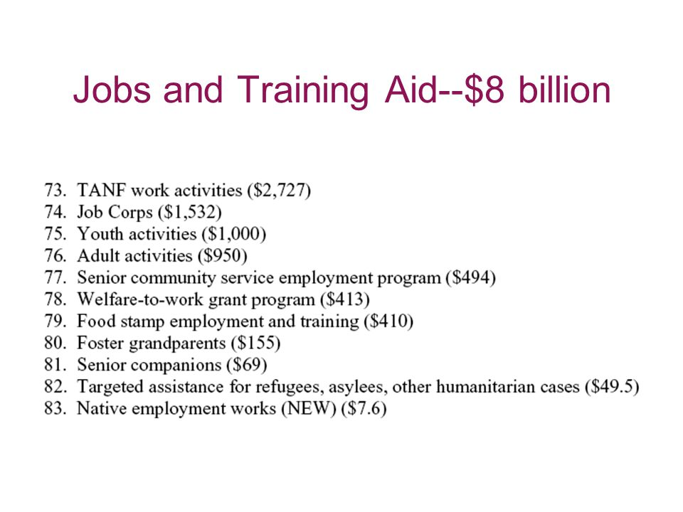 Jobs and Training Aid--$8 billion