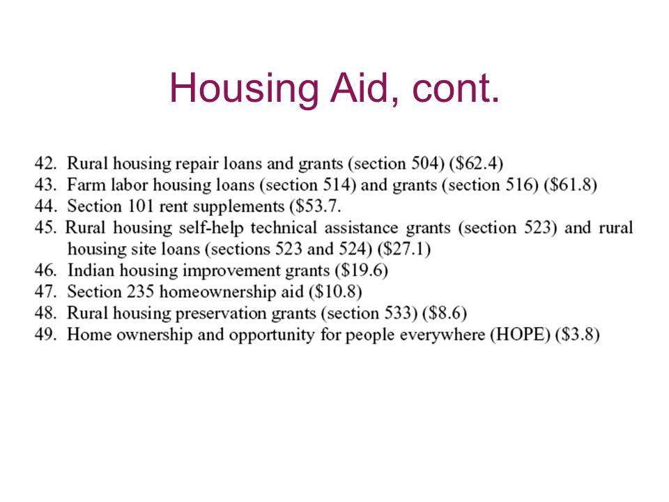 Housing Aid, cont.