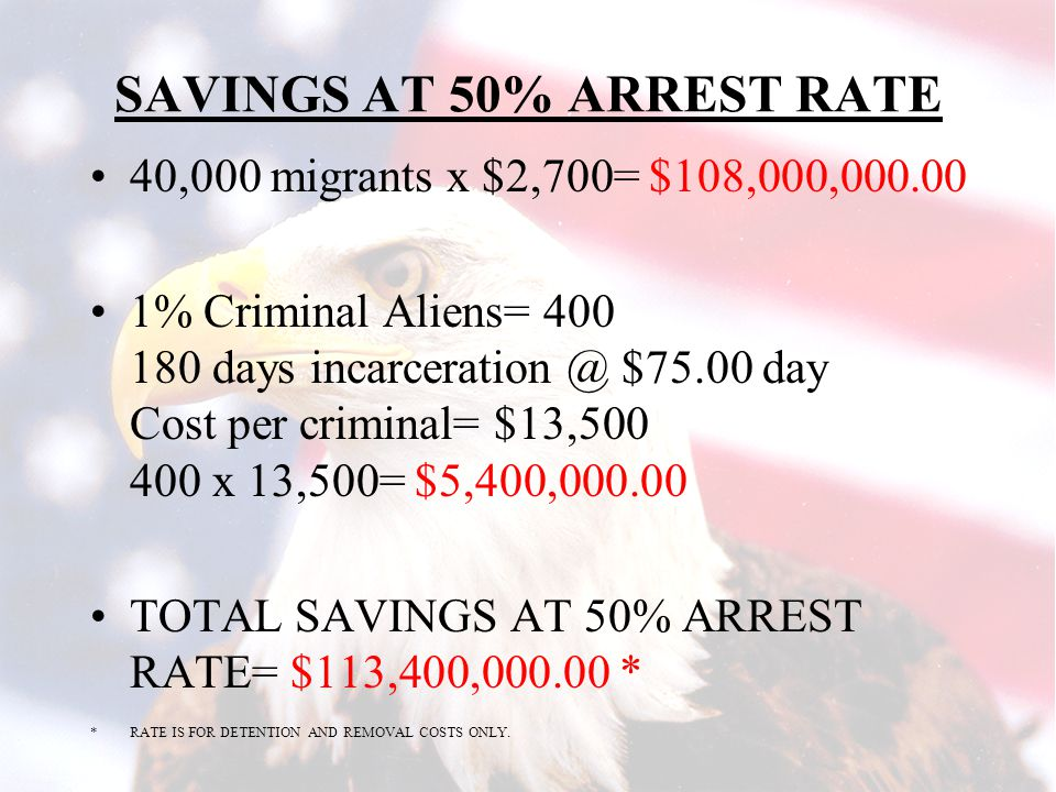 SAVING TO THE U.S. GOVERNMENT EACH ILLEGAL ALIEN (OTM) ARRESTED IN THE US WILL COST APPROXIMATELY $2,700.00 IN DETENTION AND REMOVAL COSTS. AVE. STAY