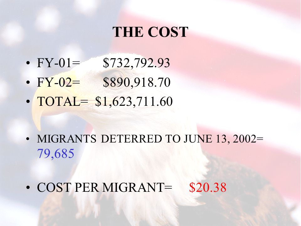 THE COST FY-01= $732,792.93 FY-02= $890,918.70 TOTAL= $1,623,711.60 MIGRANTS DETERRED TO JUNE 13, 2002= 79,685 COST PER MIGRANT= $20.38