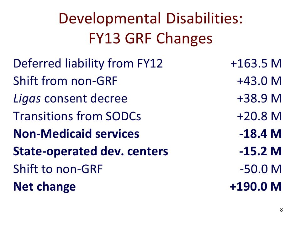 8 Developmental Disabilities: FY13 GRF Changes Deferred liability from FY12+163.5 M Shift from non-GRF+43.0 M Ligas consent decree+38.9 M Transitions from SODCs+20.8 M Non-Medicaid services-18.4 M State-operated dev.
