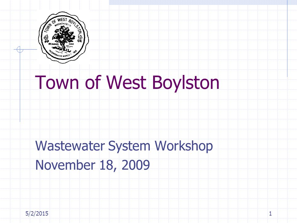 5/2/20151 Town of West Boylston Wastewater System Workshop November 18, 2009