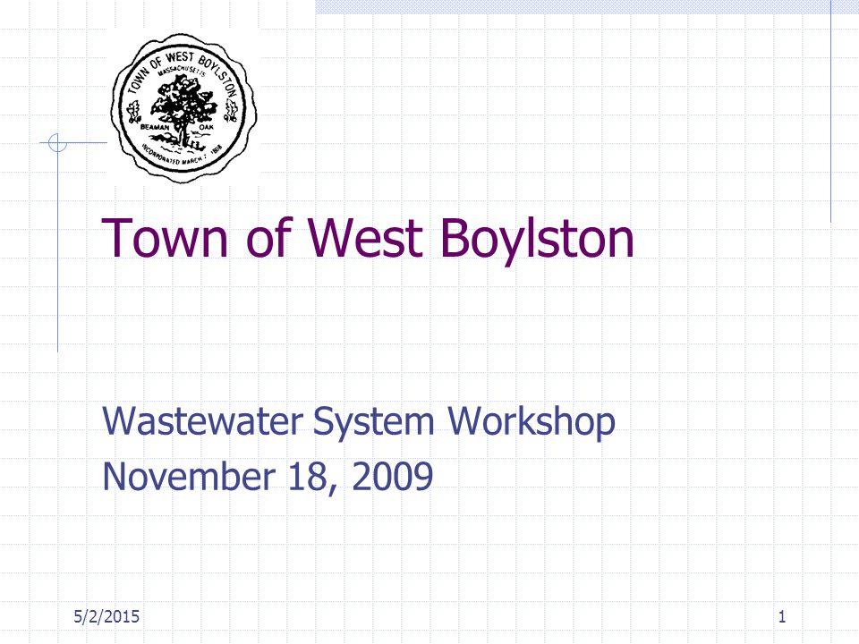 5/2/20151 Town of West Boylston Wastewater System Workshop November 18, 2009