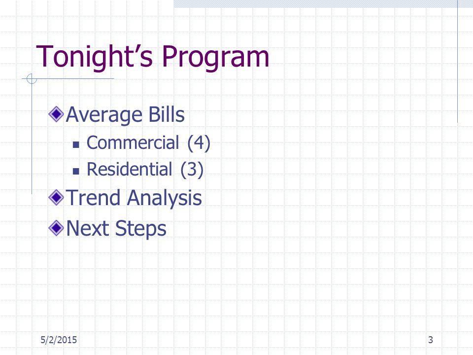 5/2/20153 Tonight's Program Average Bills Commercial (4) Residential (3) Trend Analysis Next Steps