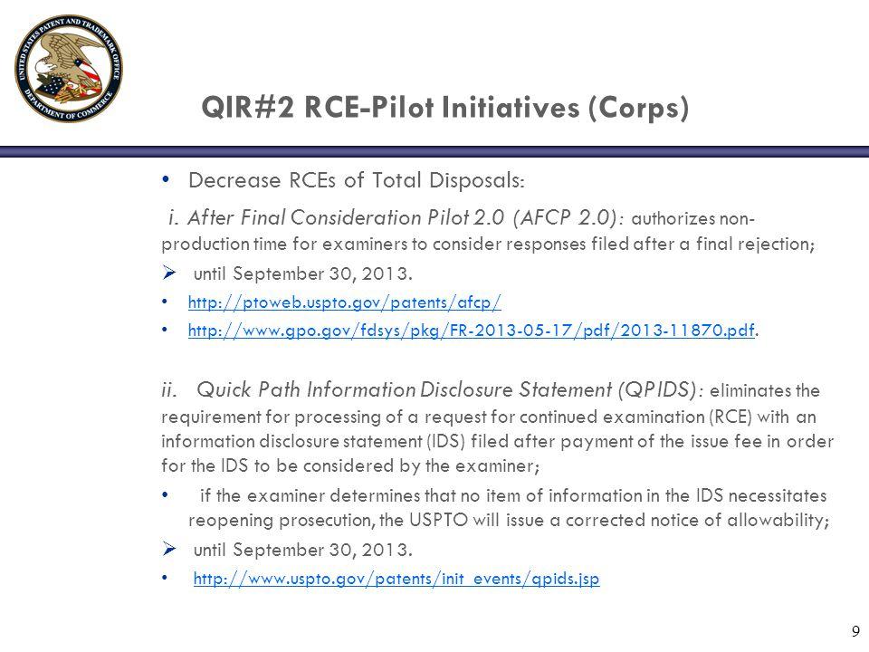 QIR#2 RCE-Pilot Initiatives (Corps) Decrease RCEs of Total Disposals: i.