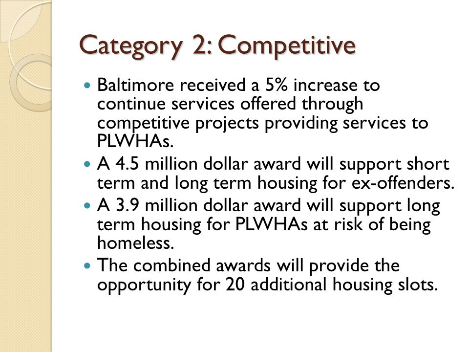 Category 2: Competitive Baltimore received a 5% increase to continue services offered through competitive projects providing services to PLWHAs.