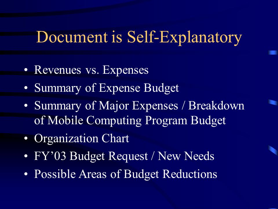 Document is Self-Explanatory Revenues vs.