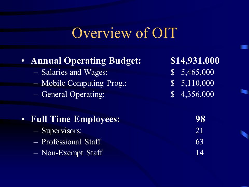 Overview of OIT Annual Operating Budget: $14,931,000 –Salaries and Wages: $ 5,465,000 –Mobile Computing Prog.:$ 5,110,000 –General Operating:$ 4,356,000 Full Time Employees:98 –Supervisors:21 –Professional Staff63 –Non-Exempt Staff14