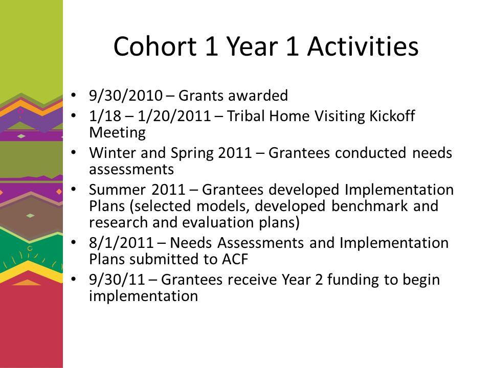 Cohort 1 Year 1 Activities 9/30/2010 – Grants awarded 1/18 – 1/20/2011 – Tribal Home Visiting Kickoff Meeting Winter and Spring 2011 – Grantees conduc